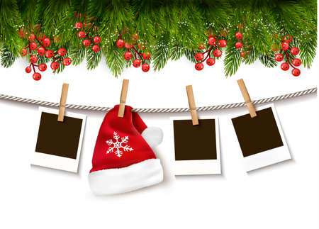 Christmas background with photos and a Santa hat. Vector. Ilustração