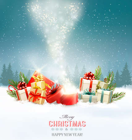 Christmas holiday background with presents and magic box. Vector. Illustration