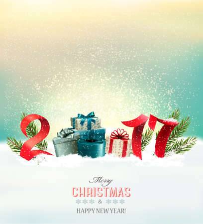Happy new year 2017! Holiday Christmas background with a gift boxes. Vector Illustration