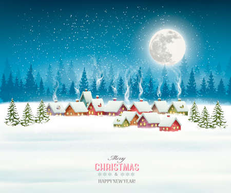 Christmas greeting card against snow covered village. Vector Illustration