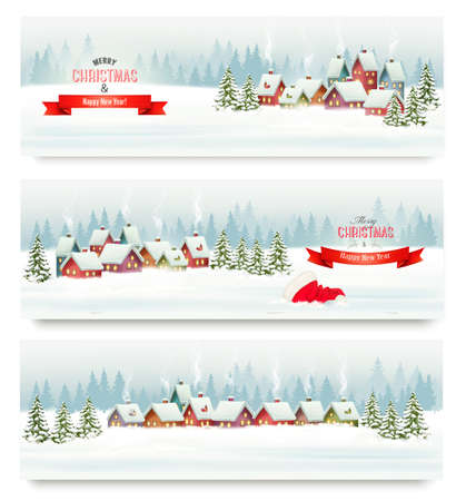 winter tree: Holiday Christmas banners with villages and landscape. Vector. Illustration