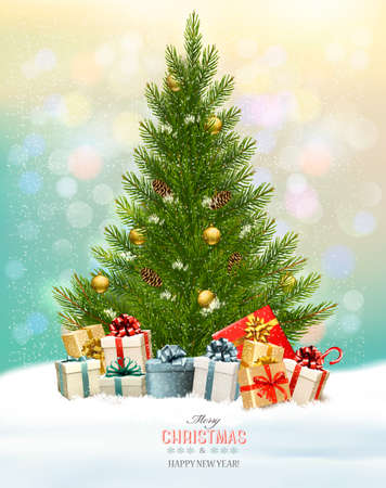christmas backgrounds: Holiday background with a Christmas tree and presents. Vector