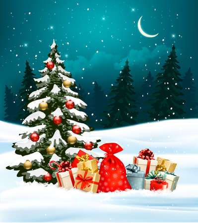 winter tree: Holiday Christmas background with a sack full of gift boxes and Christmas tree. Vector. Illustration