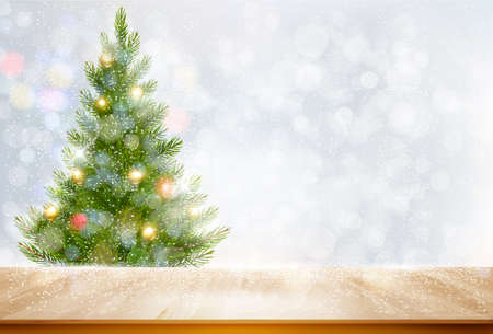Holiday background with a Christmas tree and colorful balls. Vector
