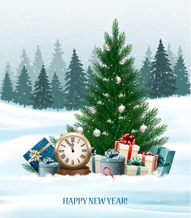 Holiday background with a Christmas tree and presents and clock. Vector. Illustration
