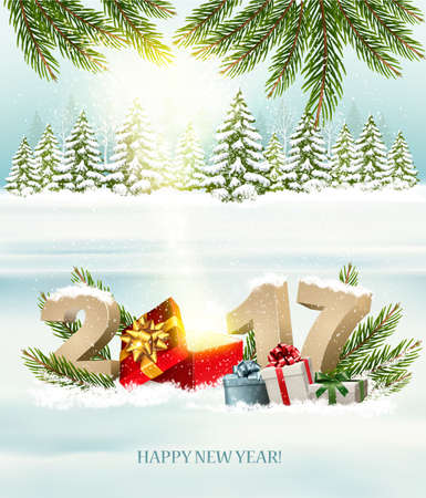 Happy New Year 2017 nature background with magic box and presents. Vector.