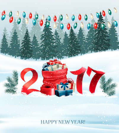 New Year background with a 2017 and sack with presents. Vector