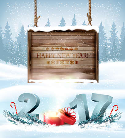 Happy New Year 2017 background with a wooden sign. Vector.