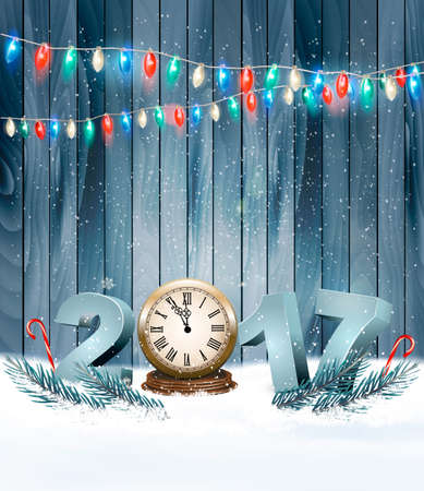 12 days of christmas: Happy New Year 2017 background with a wooden sign. Vector.