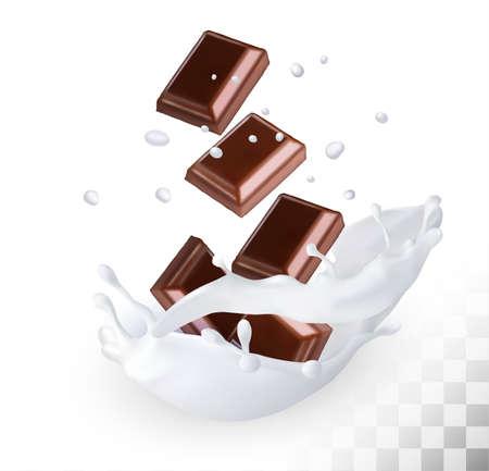 indulgence: Chocolate in a milk splash on a transparent background. Vector. Illustration