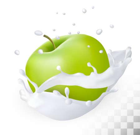 Green apple in a milk splash on a transparent background. Vector.