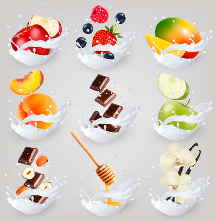 Big collection icons of fruit in a milk splash. Raspberry, strawberry, mango, vanilla, peach, apple, honey, nuts, chocolate Vettoriali