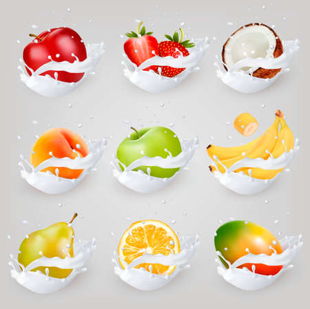 Big collection icons of fruit in a milk splash. Apple, mango, banana, peach, pear, orange, coconut, peach, raspberry.