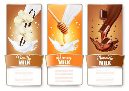 Set von drei Etiketten von Schokolade, Honig und Vanille Milch spritzt. Vektor.