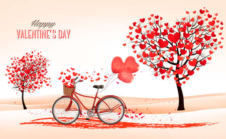outdoor wedding: Valentines Day background with a heart shaped trees and a bicycle. Vector. Illustration