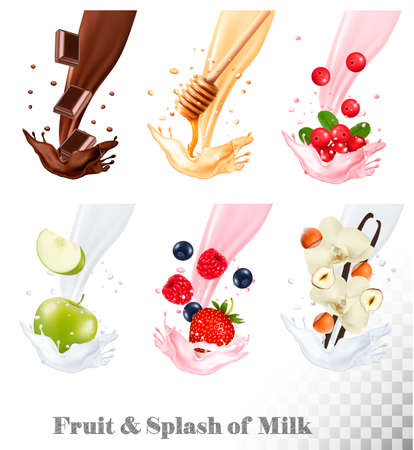 Big collection of fruit and berries in a milk splash. Raspberry, strawberry, honey, nut, chocolate, blueberry, nuts, cow berry, apple. Vector Set