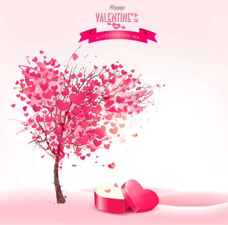 Valentine`s day background with an heart shaped magic box. Vector.