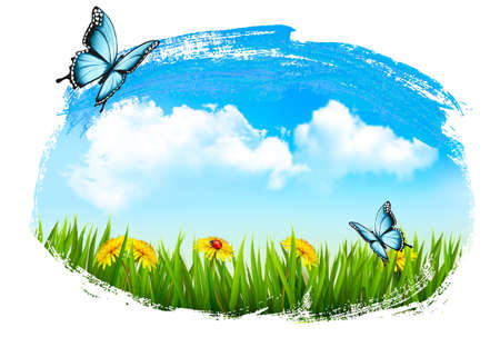 grass: Nature background with green grass, flowers and a butterfly. Vector.