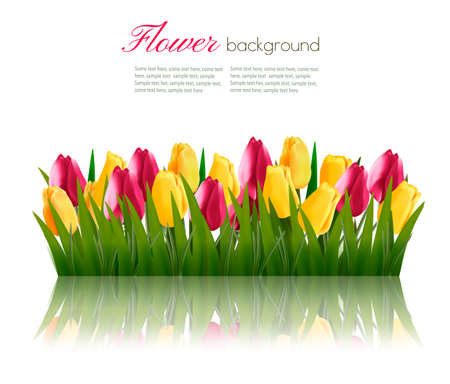 abstract flowers: Nature background with green grass and colorful flowers. Vector.