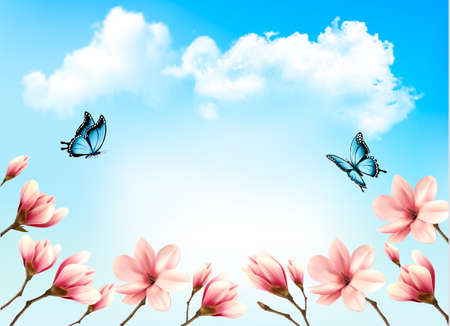 skies: Nature spring background with beautiful magnolia branches on blue sky. Vector.