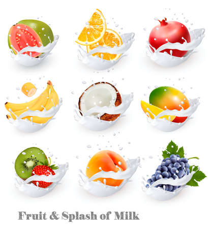 Big collection icons of fruit in a milk splash. Guava, banana, orange, coconut, grapes, kiwi, pomegranate, peach, mango. Vector Set