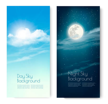 contrasting: Two contrasting sky banners - Day and Night. Vector.