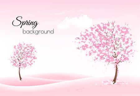 Beau fond nature printemps avec des arbres en fleurs et paysagiste. Vecteur