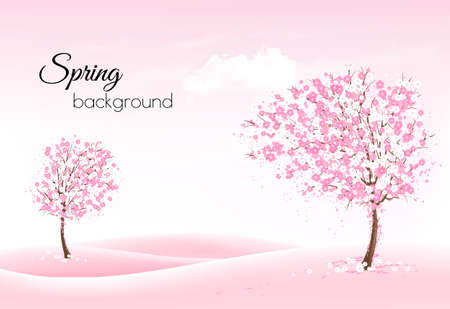Beautiful spring nature background with a blossoming trees and landscaper. Vector