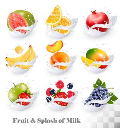 Big collection icons of fruit in a milk splash. Guava, banana, orange, apple, grapes, strawberry, pomegranate, peach, mango. Vector Set