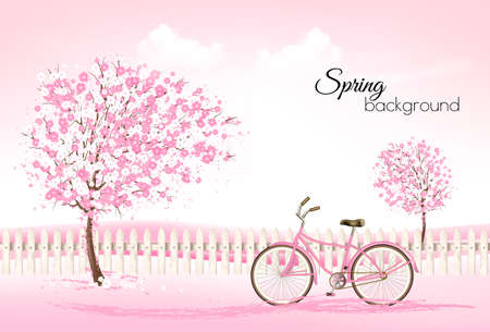 Beautiful spring nature background with a blossoming trees and bike. Vector. Ilustracja