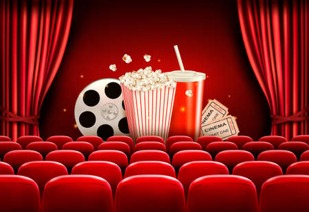 Cinema background with a film reel, popcorn, drink and tickets. Vector. Illustration
