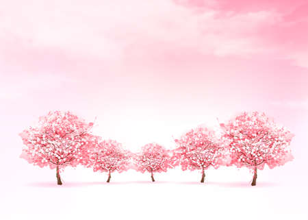 Spring nature background with a pink blooming sakura tree. Vector. Фото со стока - 72212379