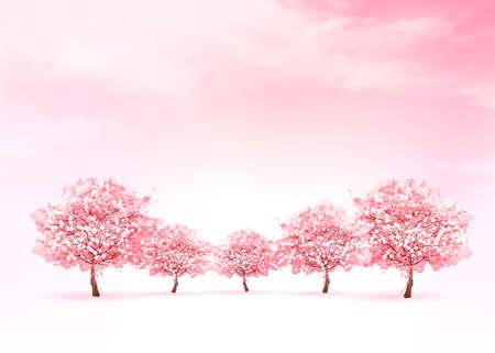 Wiosna charakter tła z różowy kwitnących drzewa sakura. Wektor. Ilustracje wektorowe