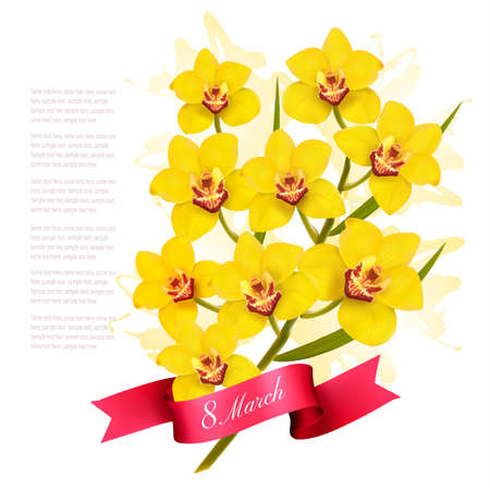 8th March illustration with yellow flowers Illustration