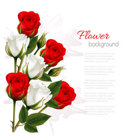 bunch of flowers: Beautiful getting card with colorful roses. Vector