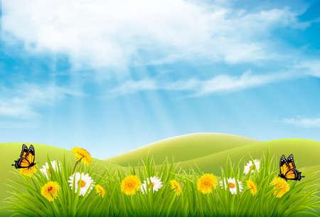Spring natuur landschap achtergrond met bloemen en vlinders. Vector. Stock Illustratie