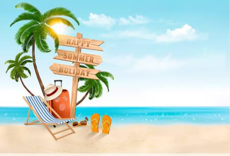 Seaside vacation vector. Travel items on the beach. Illustration