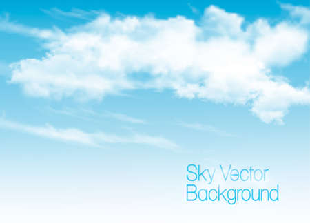 Blue sky background with white  transparent clouds. Vector background.