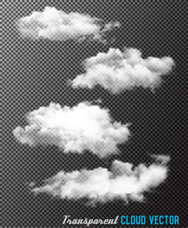 fire shows: Transparent set of cloud vectors Illustration