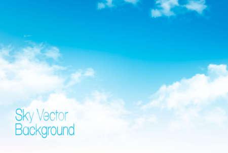 Vector blauwe hemel panorama met transparante wolken. Vector achtergrond.