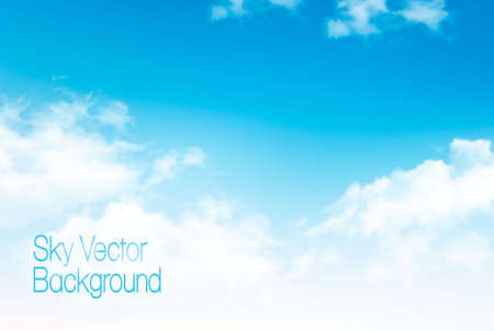 Vector blue sky panorama with transparent clouds. Vector background.