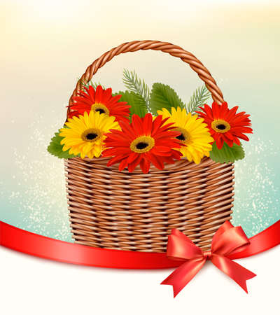 Holiday Easter background with colorful flowers in basket and red ribbon. Vector Illustration