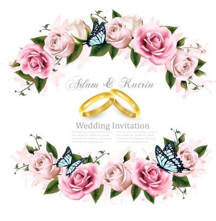 Biglietto di auguri con le rose, carta di invito per il matrimonio. Illustrazione vettoriale. Archivio Fotografico - 74037477