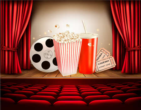 cinema film: Cinema with a film reel, popcorn, drink and tickets. Vector.
