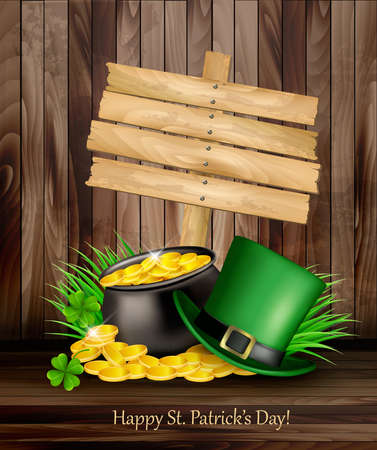 patric: Saint Patricks Day with a green hat and gold coins and wooden sign. Illustration