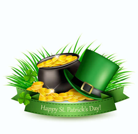 Saint Patricks Day background with a green hat and gold coins in a cauldron. Vector illustration.