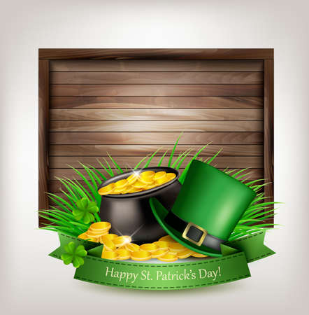 patric: Saint Patricks Day background with a green hat and gold coins and wooden sign. Vector illustration.
