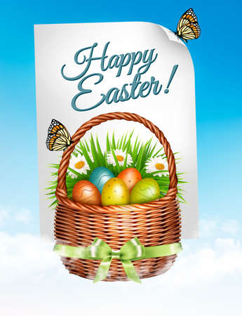Spring Easter background. Easter eggs in basket with flowers. Vector.