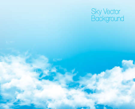 Vector blue sky panorama with transparent clouds.
