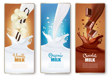 Set of banners with chocolate and milk splashes. Vector. Illustration